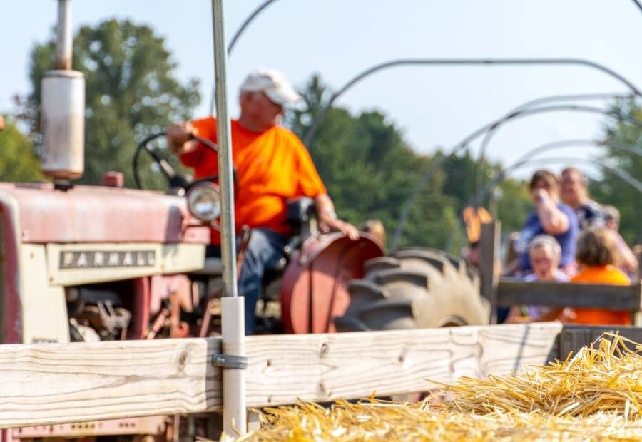 Families enjoying fall activities in Grand Rapids at Post Family Farms on a tractor ride.